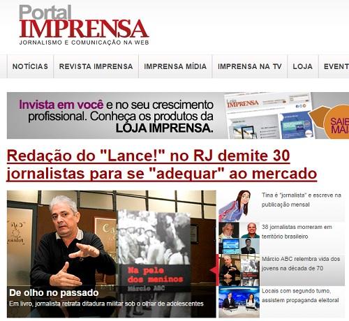 Matéria sobre o livro é um dos destaques do Portal Imprensa (Foto: Isabela Ribeiro/Divulgação)