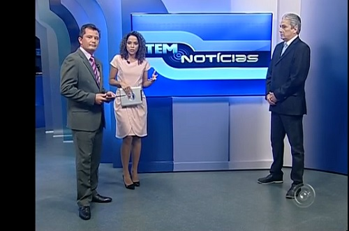 Com os apresentadores do Tem Notícias Primeira Edição, Giuliano Tamura e Suéllen Rosim
